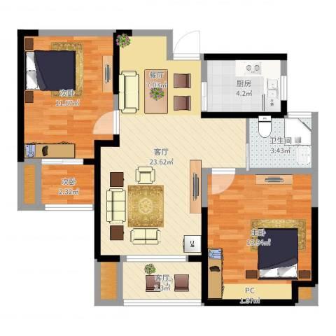 圣联香御公馆3室2厅1卫1厨80.00㎡户型图