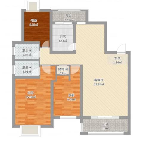 溪湖春晓3室2厅2卫1厨121.00㎡户型图