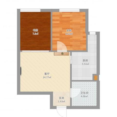 新华国际公寓E号2室1厅1卫1厨51.00㎡户型图