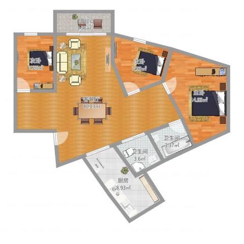 西湖花园3室2厅2卫1厨113.00㎡户型图