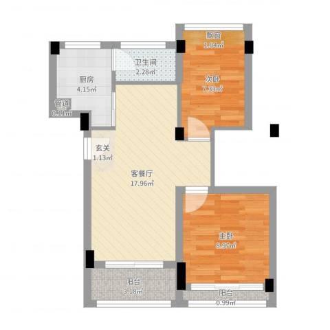 康桥月苑2室2厅1卫1厨67.00㎡户型图