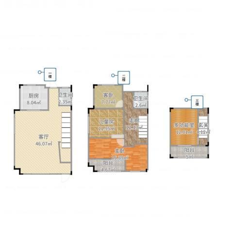 阿卡迪亚3室1厅2卫1厨165.00㎡户型图