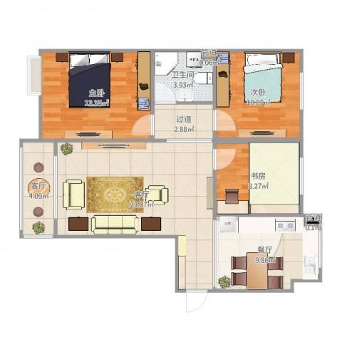 绿地公馆壹号3室3室3厅2卫2厨95.00㎡户型图