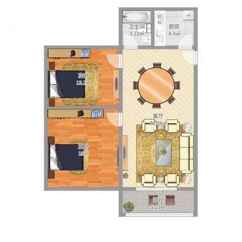 江川一村2室1厅1卫1厨95.00㎡户型图