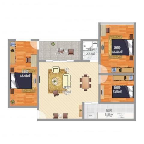 侨燕苑3室1厅1卫1厨101.00㎡户型图