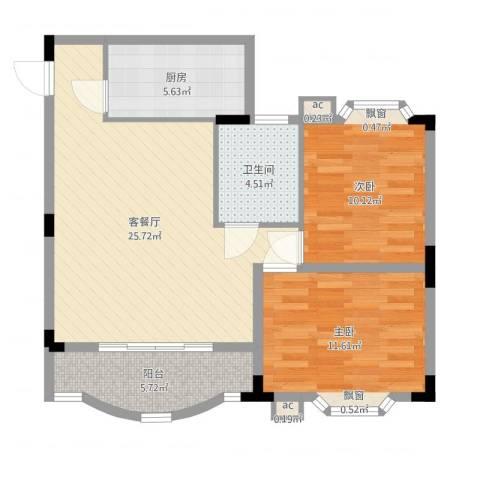 雅翠花园2室2厅1卫1厨80.00㎡户型图
