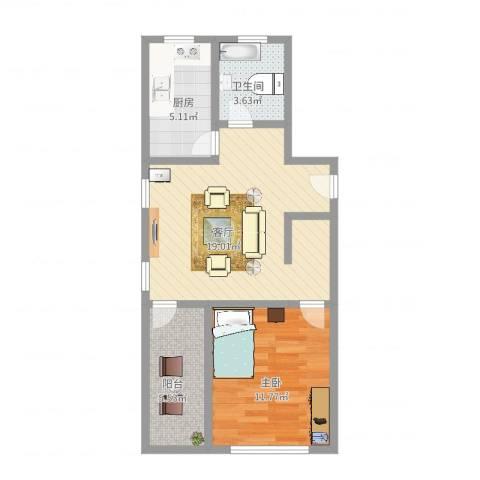 欧风家园1室1厅1卫1厨56.00㎡户型图