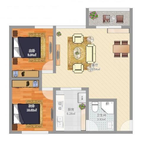 晓园新村2室1厅1卫1厨76.00㎡户型图