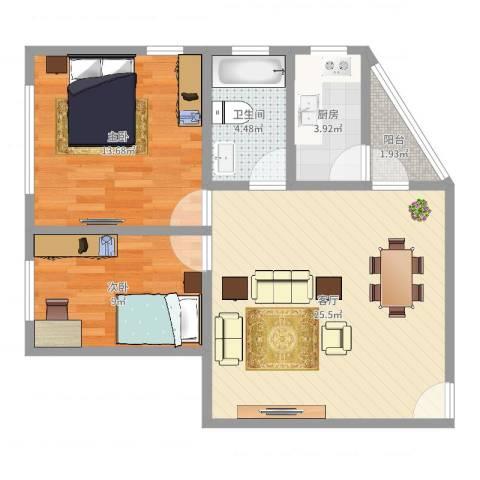 同德花园2室1厅1卫1厨73.00㎡户型图
