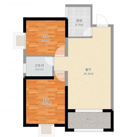 龙记帝景湾2室1厅1卫1厨75.00㎡户型图