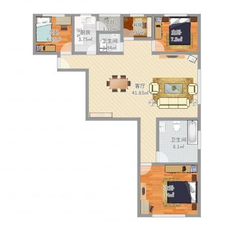 龙华花半里4室1厅2卫1厨110.00㎡户型图