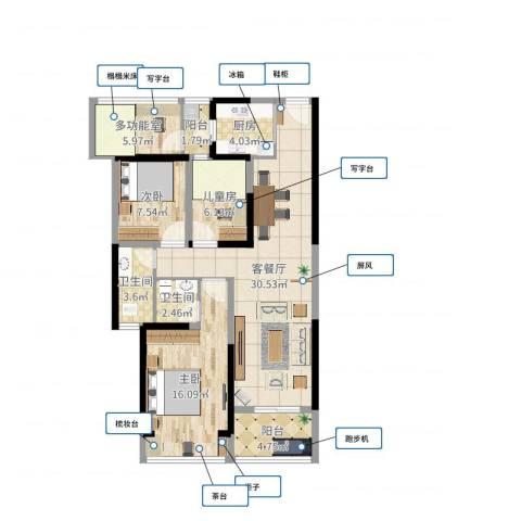 江南翡翠3室2厅2卫1厨104.00㎡户型图