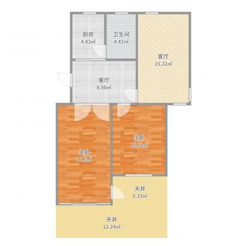 平吉二村2室2厅1卫1厨79.00㎡户型图