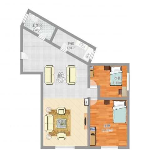 上安大厦2室1厅1卫1厨72.00㎡户型图