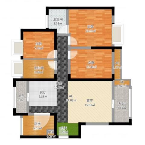 绿地玫瑰城3室1厅4卫2厨111.00㎡户型图