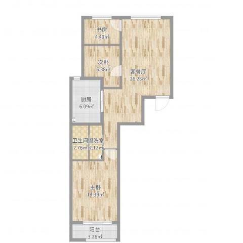 航天城小区3室4厅1卫1厨82.00㎡户型图