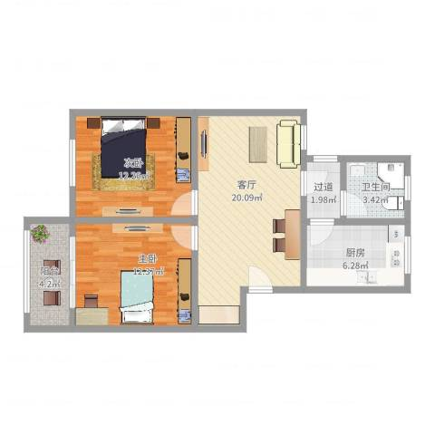 红旗四街坊2室1厅1卫1厨76.00㎡户型图