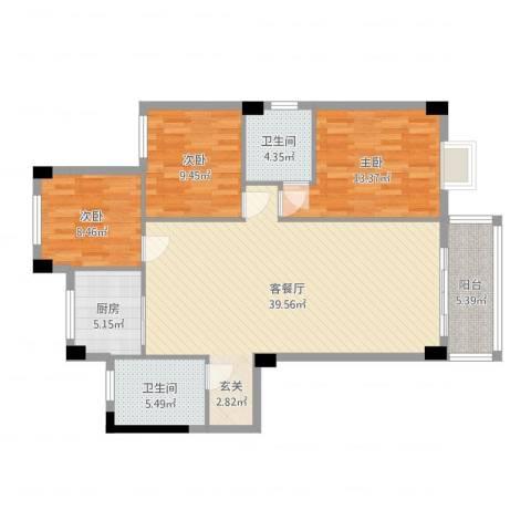 昌润・嘉和苑3室2厅2卫1厨114.00㎡户型图