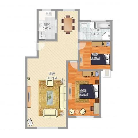 锦欣苑2室1厅1卫1厨108.00㎡户型图
