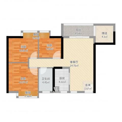 佳兆业水岸华都3室2厅1卫1厨91.00㎡户型图