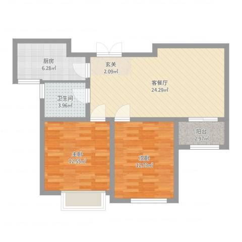 中汇城・御园2室2厅1卫1厨78.00㎡户型图