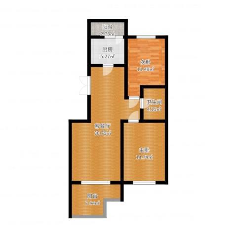 中天富城2室2厅1卫1厨96.00㎡户型图