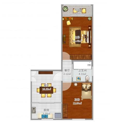 水霞小区2室2厅1卫1厨70.00㎡户型图