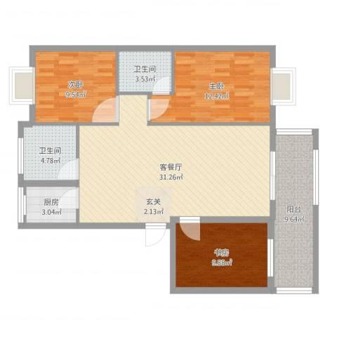 江南春晓3室2厅2卫1厨105.00㎡户型图