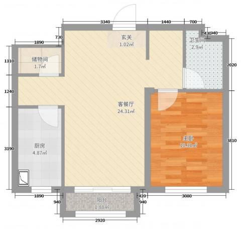 万成御园1室2厅1卫1厨66.00㎡户型图