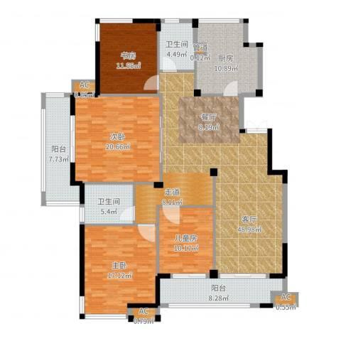 海棠湾花园4室1厅2卫1厨184.00㎡户型图