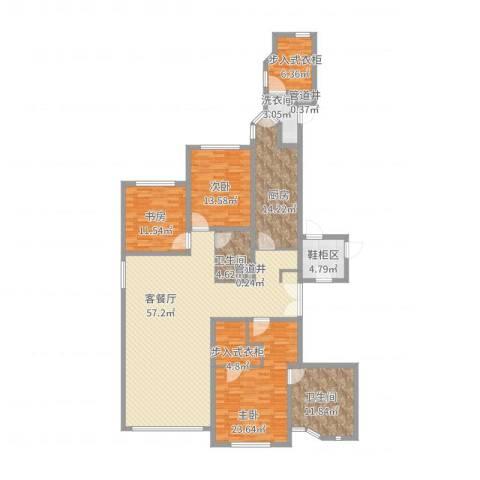 华山丽苑3室2厅2卫1厨218.00㎡户型图