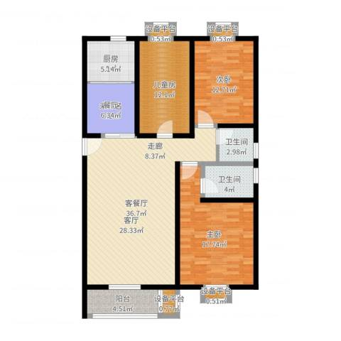 梨花江苑3室2厅2卫1厨151.00㎡户型图