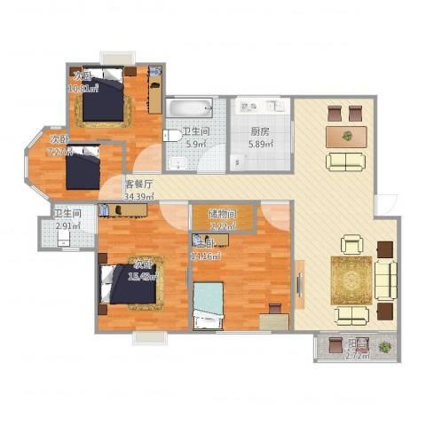 证大家园三期4室2厅2卫1厨138.00㎡户型图