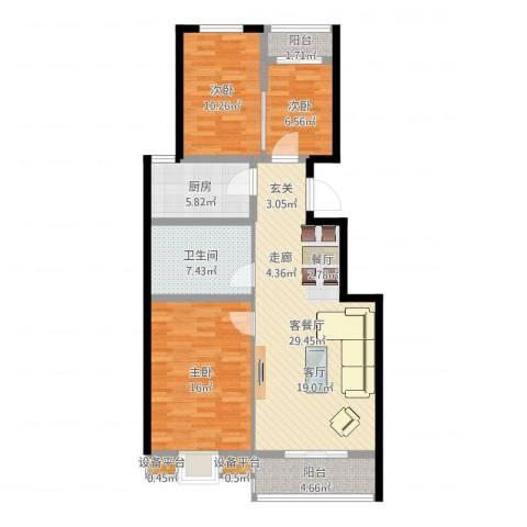 书香雅居3室2厅1卫1厨104.00㎡户型图