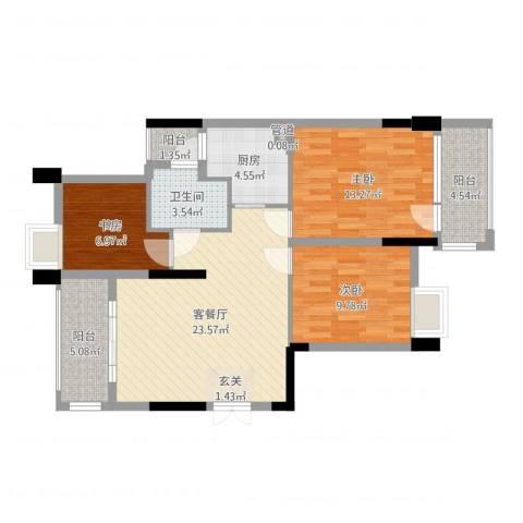 金象嘉园3室2厅1卫1厨91.00㎡户型图