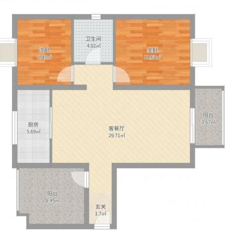 金秋豪园2室2厅1卫1厨89.00㎡户型图