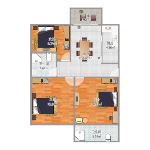 虹梅景苑4街坊3室1厅2卫1厨96.00㎡户型图