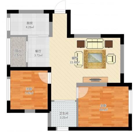 新里海德公馆2室1厅1卫1厨64.00㎡户型图