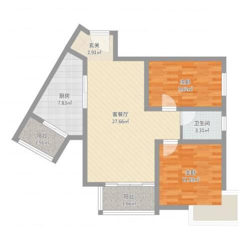 丽水花都2室2厅1卫1厨83.00㎡户型图