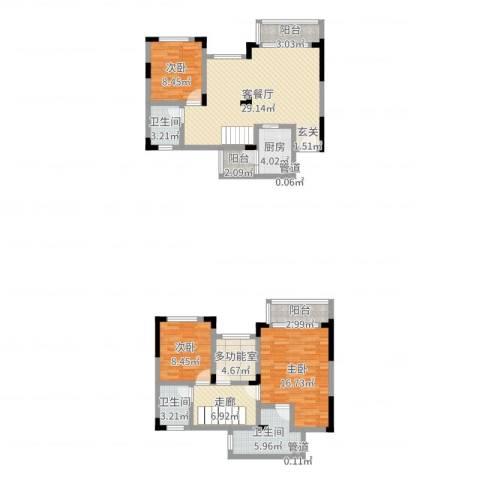 城海滨江春城一期3室2厅3卫1厨124.00㎡户型图