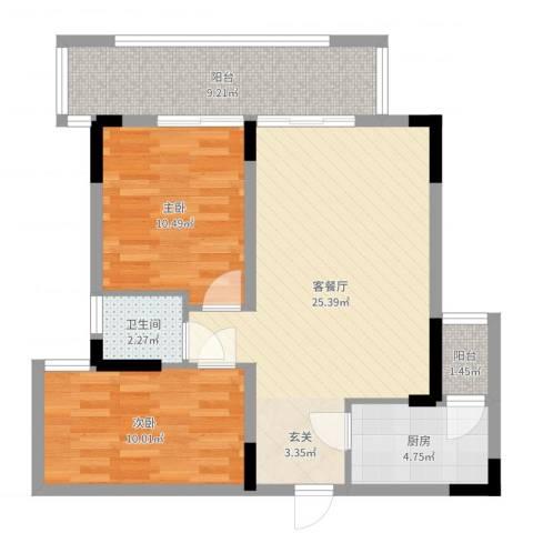 景竣名苑2室2厅1卫1厨79.00㎡户型图