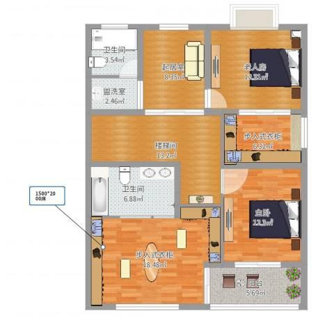 幸福佳苑D1406-11室2厅4卫1厨112.00㎡户型图
