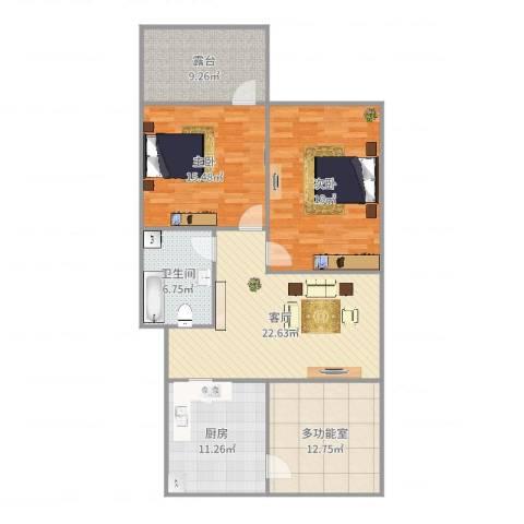 宸宇花园2室1厅1卫1厨121.00㎡户型图