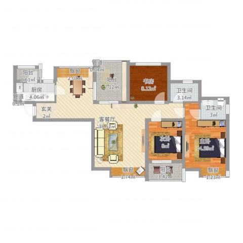 中海观园3室2厅2卫1厨115.00㎡户型图