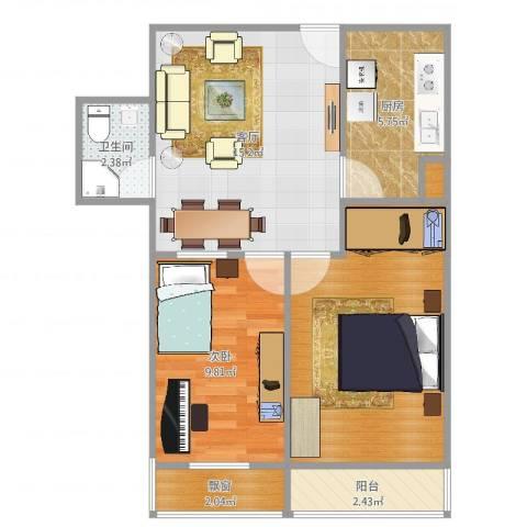 铁东小区1室1厅1卫1厨64.00㎡户型图
