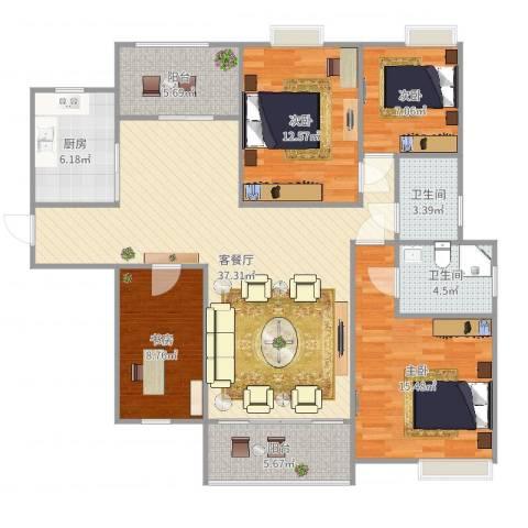 金域廊院1374室2厅2卫1厨133.00㎡户型图