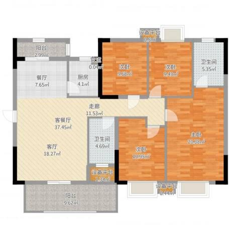 华侨城4室2厅2卫1厨146.00㎡户型图