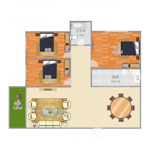 嘉宝楼3室1厅1卫1厨180.00㎡户型图
