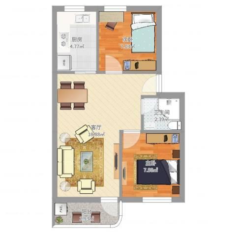 南苑小区2室1厅1卫1厨62.00㎡户型图