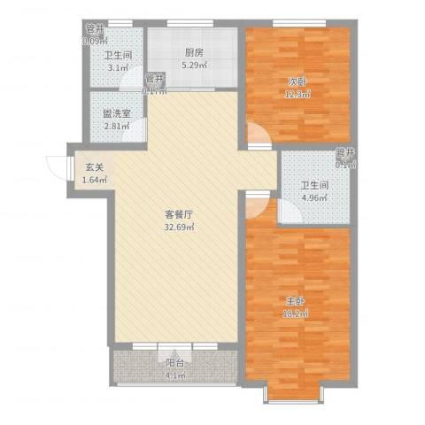 丽景苑2室2厅2卫1厨105.00㎡户型图